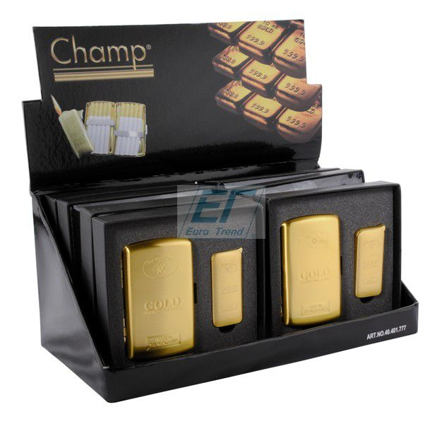 Goldbarren-Set<br> Feuerzeug +<br>Zigarettenetui Champ