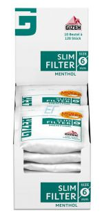 GIZEH MENTHOL Slim Filter 6mm 10 x120er Beutel