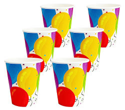 Pappbecher 6er Set  Balloons ca.266ml