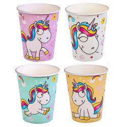 Comic Einhorn Pappbecher 6er Set ca.250ml
