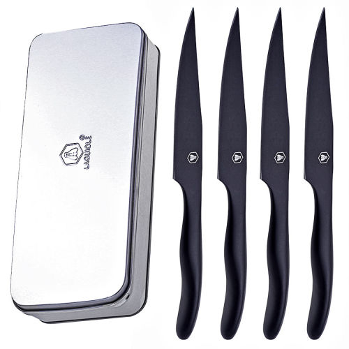 Laguiole 4er Steak-Messer Set BLACK in Metall-Box