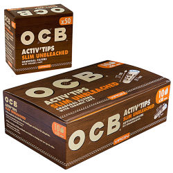 OCB Activ Slim Tips 50er Box 7mm Unbleached