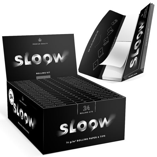 Sloow Black King Size + TIPS 24er Box/ je 32 Blatt-32 Tips